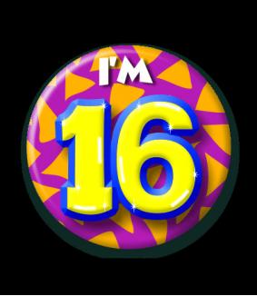 afbeelding 16 jaar Button 16 jaar | Feestgeest afbeelding 16 jaar
